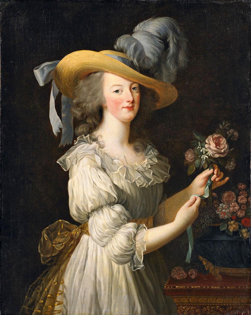 Elisabeth Vigée Lebrun, Marie Antoinette in a Muslin Dress, 1793, oil on canvas, Schloss Wolfsgarten