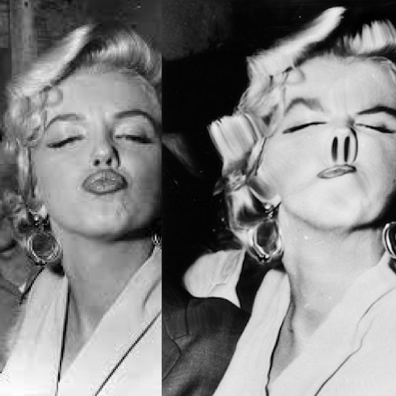 An original photo of Marilyn, distorted by Weegee's plastic lens, c. 1960