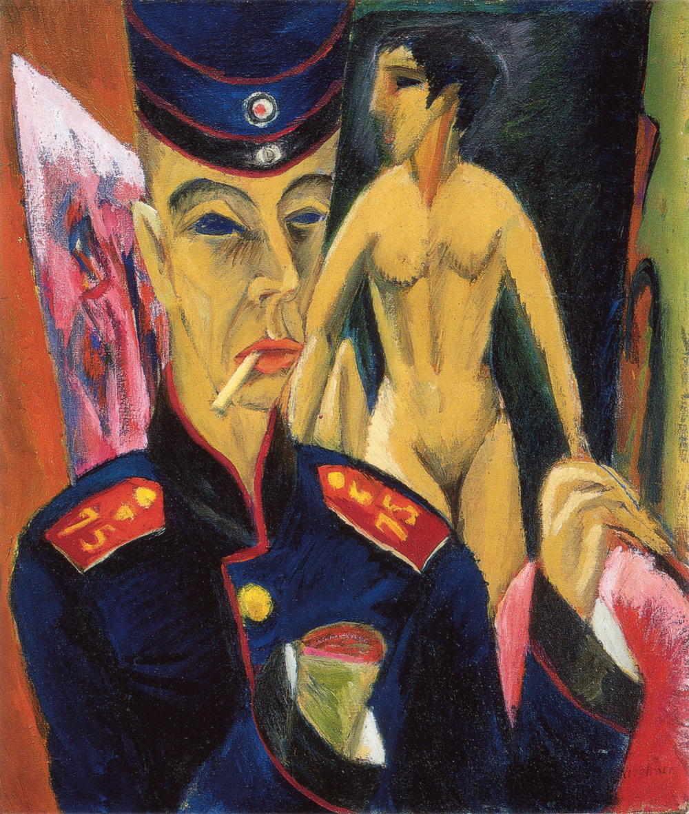 Ernst Ludwig Kirchner, Self Portrait as an Artist, 1915, Oil on canvas. Oberlin College, Ohio.