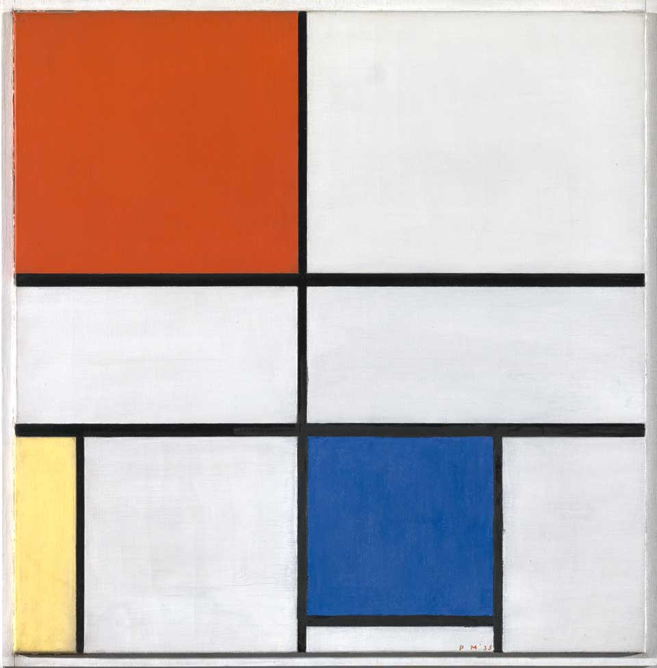Piet Mondrian, Composition C (No.III) with Red, Yellow and Blue, 1935, Tate Modern © 2007 Mondrian/Holtzman Trust c/o HCR International, Warrenton, VA