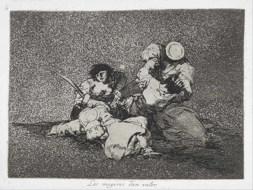 Francisco Goya, The Disasters of War, 1810-1820, plate 4: Las mujeres dan valor (The women are courageous). A struggle between civilians and soldiers
