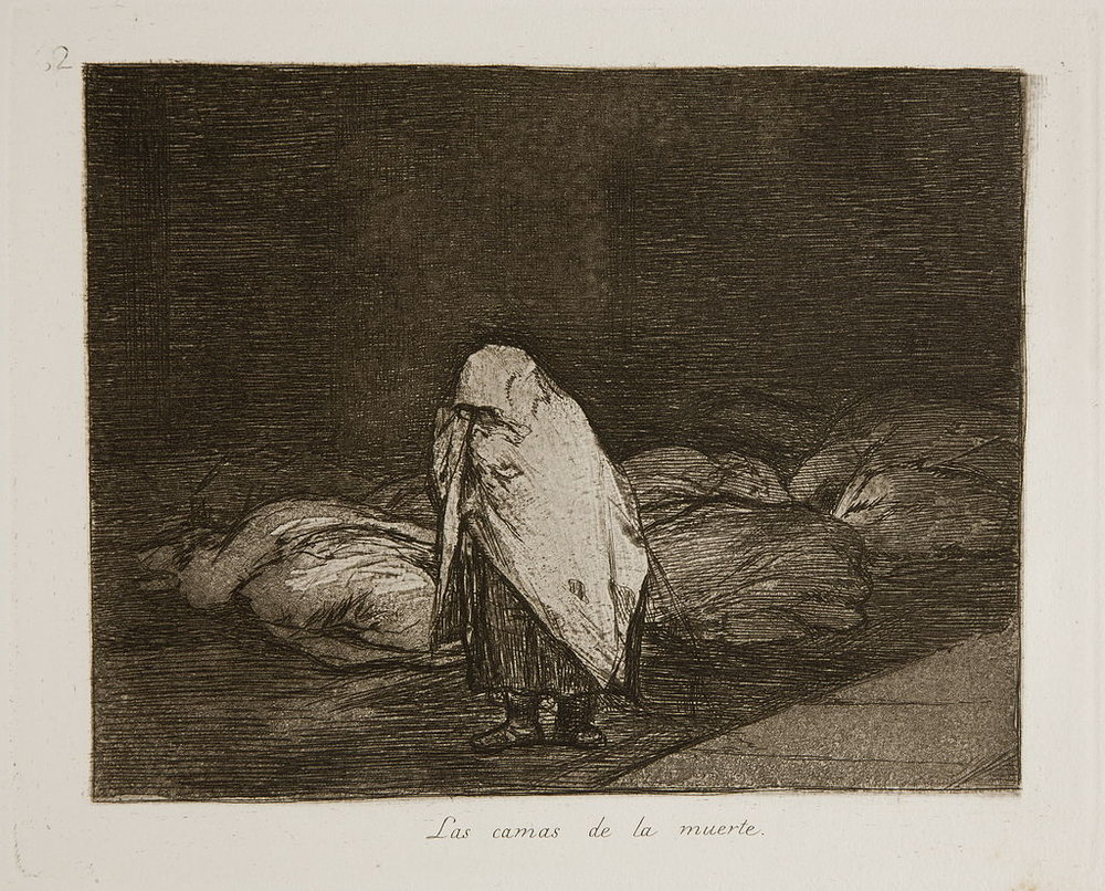 Francisco Goya, The Disasters of War, 1810-1820, plate 62: Las camas de la muerte (The beds of death). A woman walks past dozens of wrapped bodies awaiting burial.