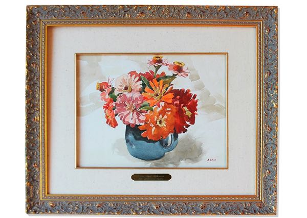 Adolf Hitler, Vase Mit Blumen, 1912, oil on paper. Photo: Nate D. Sanders Fine Autographs and Memorabilia