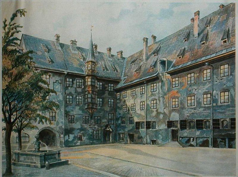 Adolf Hitler, The Courtyard of the Old Residency in Munich, 1914, watercolor on paper, originally from: Adolf Hitler: Bilder aus dem Leben des Führers