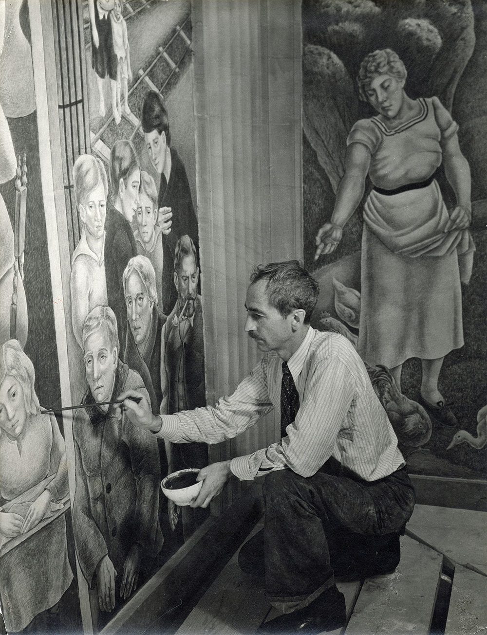 Photograph of George Biddle at Work, 1930s