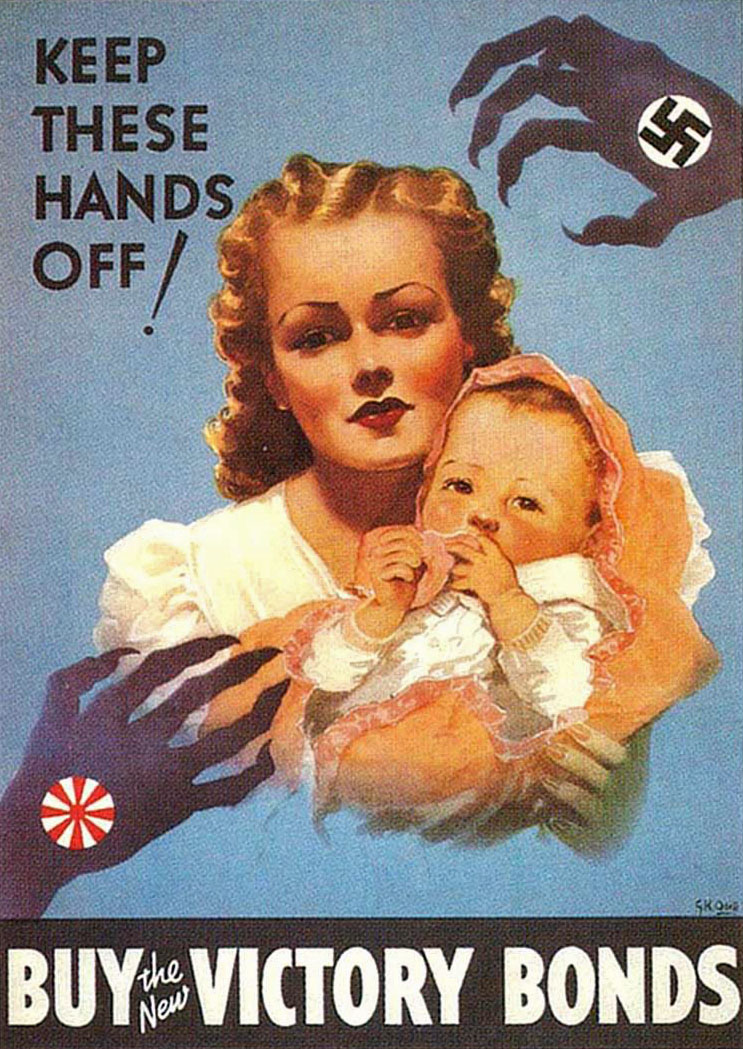 """Canadian Propaganda Poster, Gordon Odell,  """"Keep These Hands Off,"""" 1941-42"""