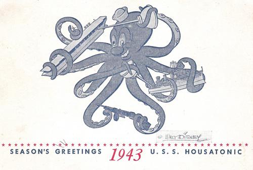 Holiday card for U.S.S. Housatonic, featuring propaganda by Walt Disney