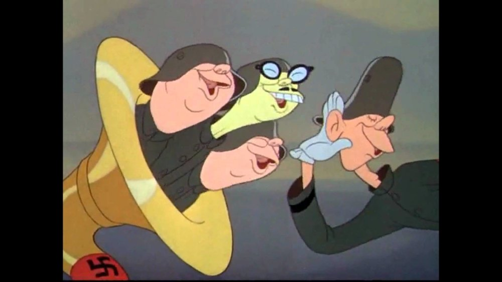 Animation still from  Der Fuehrer's Face , featuring racist caricatures of real-life figures, like Japanese Emperor Hirohito