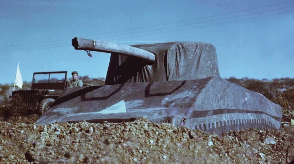 A rare color photo of a Ghost Army inflatable tank