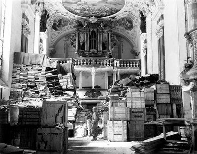 "The Nazis used everything, including churches — like this one in the city of Ellingen --€"" to stash everything from stolen art to the regime's records. National Archives & Records Administration"