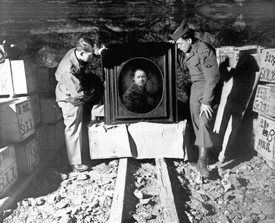 Sgt. Harry Ettlinger (right) and Lt. Dale Ford helped repatriate a Rembrandt found among a trove of art in a German salt mine. National Archives and Records Administration