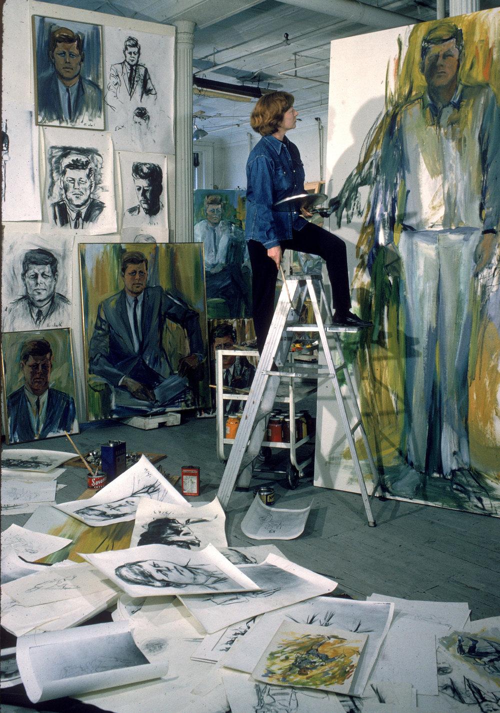 Elaine de Kooning in her studio, 1963
