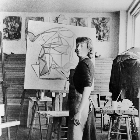Lee Krasner in her studio, date unknown