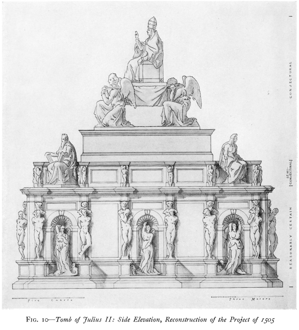 Michelangelo, designs for the Tomb of Pope Julius II (as reconstructed by Erwin Panofsky), c. 1505-1507