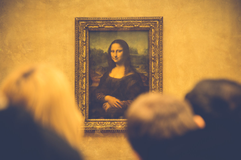 The Mona Lisa on view at the Louvre
