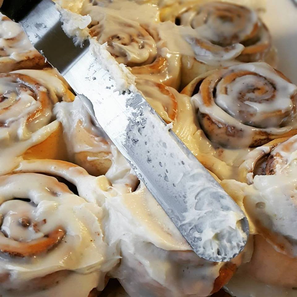 As with everything else we bake...Chef Ben makes the dough fresh and from scratch each weekend for perfectly soft, fluffy, warm and delicious cinnamon rolls on Saturday mornings.