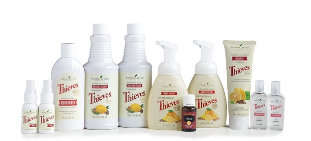Jump Start Your Thieves Collection Through Essential Rewards     Contains  Thieves essential oil blend, 15 ml  Thieves AromaBright Toothpaste, 4 oz.  Thieves Household Cleaner, 14.4 oz.,1 bottle  Thieves Mouthwash, 8 oz.  Thieves Foaming Hand Soap, 8 oz., 1 bottle  Thieves Waterless Hand Purifier, 1 oz., 1 bottle  Thieves Spray, 1 oz., 1 bottle