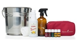 Thieves Cleaner Kit  The Thieves Home Cleaning Kit is the perfect introduction to natural cleaning and provides you with a foundation of cleaning tools and supplies to utilize Young Living's 100% pure essential oils. It includes the tools you'll need to clean and protect your home without using harsh, chemicals. You can get started today creating simple and natural cleaning solutions that are not only effective, but safe to use around every member of your family, including children and pets.  Using Citrus Fresh, Lemon, Pine, Purification, and Thieves essential oils along with our Thieves Household Cleaner, you'll love the fresh scent and clean feel of you home. You can even add or substitute some of your favorite essential oils, and we've included directions for you to make each cleaning recipe your own.  The kit also includes a large stainless steel bucket, 16 oz. amber glass spray bottle, cleaning cloth, oil bottle carrying case, and cleaning recipe instructional booklet.  Contents:  Citrus Fresh™ Essential Oil Blend 5 ml  Lemon Essential Oil 5 ml  Pine Essential Oil 5 ml  Purification® Essential Oil Blend 5 ml  Thieves® Essential Oil Blend 5 ml  Thieves® Household Cleaner 14.4 oz.  Carrying Case  Stainless Steel Bucket  Amber Glass Spray Bottle 16 oz.  Cleaning Cloth  Cleaning Recipe Booklet