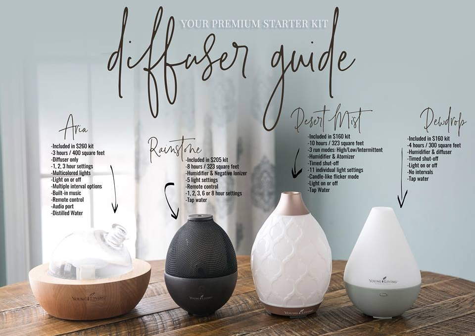 *Please note, the Desert Mist and Dewdrop diffusers are both offered with the kit at $160. If you select the Aria or Rainstone diffuser, the price will increase. ALL Diffuser Kits come with the same items listed above.