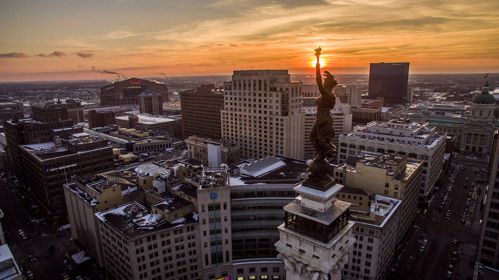 Monument Circle Indianapolis Aerial Photography