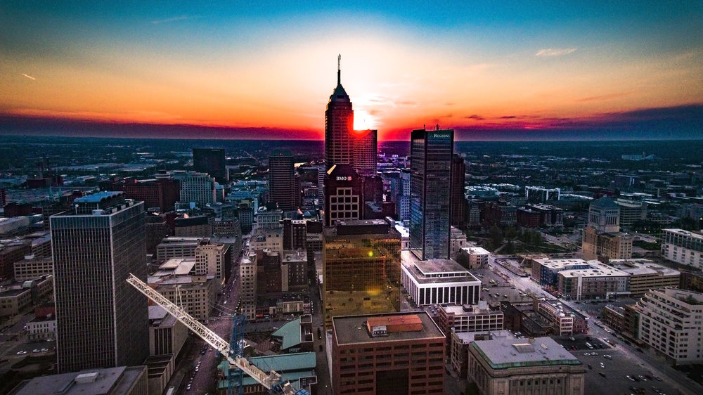 Sunset Over Indianapolis Drone Photography