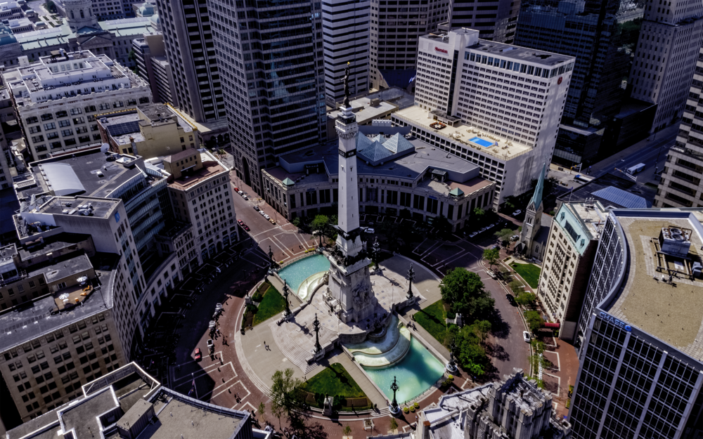 Monument Circle Drone Photography Indianapolis
