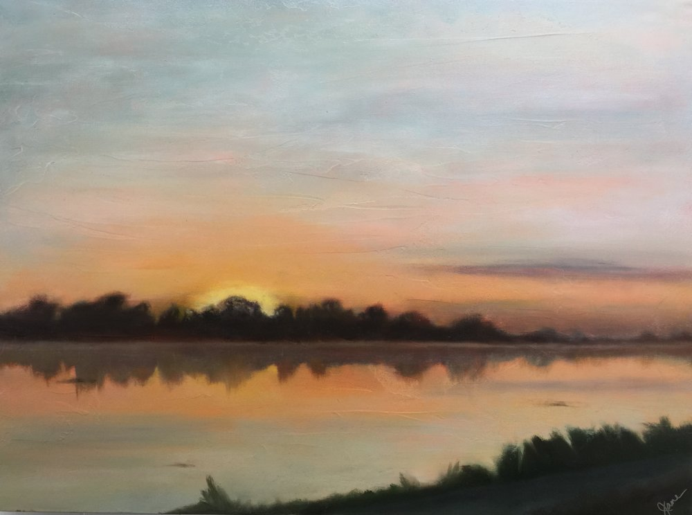 Sunrise on LSU lake 30x40.jpg