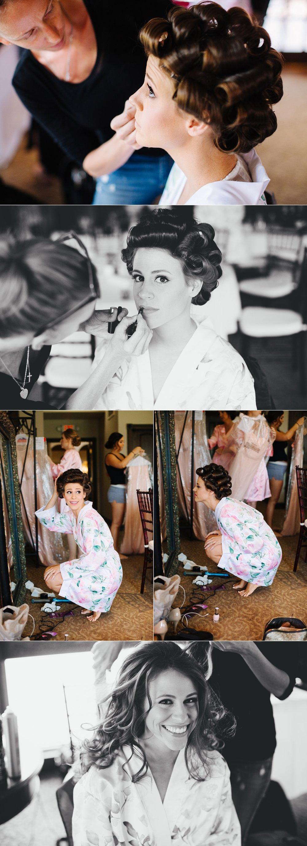 fun avila country club wedding: bride getting ready