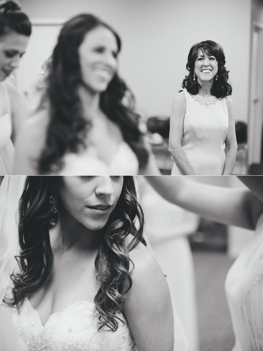 fun avila country club wedding: bride putting on dress