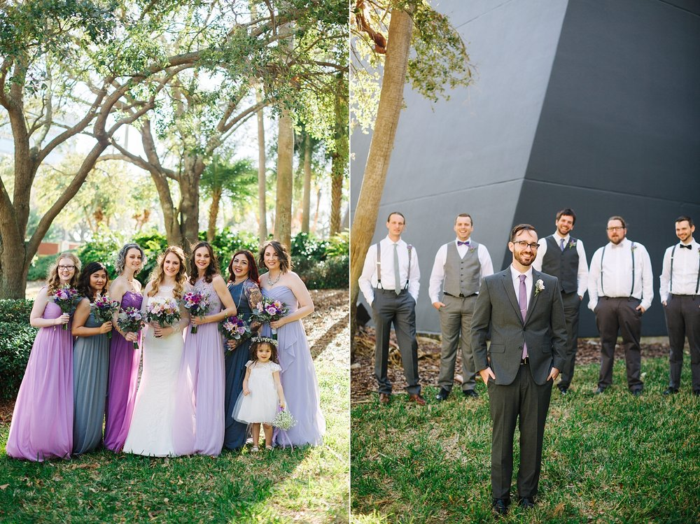 Purple & Gray Wedding Party Tampa Wedding Photography by Jake & Katie Photography | Danny & Lauren's Rusty Pelican Wedding