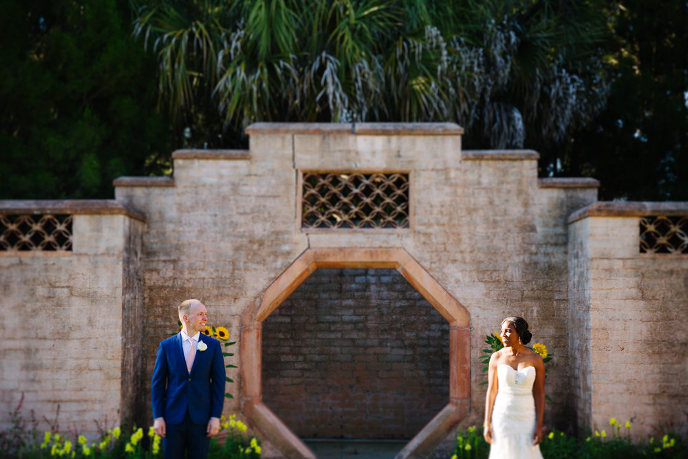 bok tower gardens wedding, bride and groom portraits at bok tower