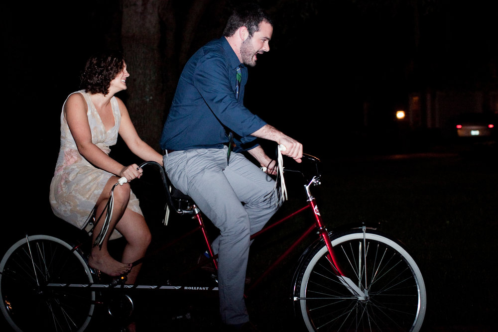 What's with the Tandem? - When we got married in 2011, we were given one of our favorite gifts - a tandem bike - at our rehearsal dinner. We chose it to represent our business because it shows how we work together in both our marriage and our business.