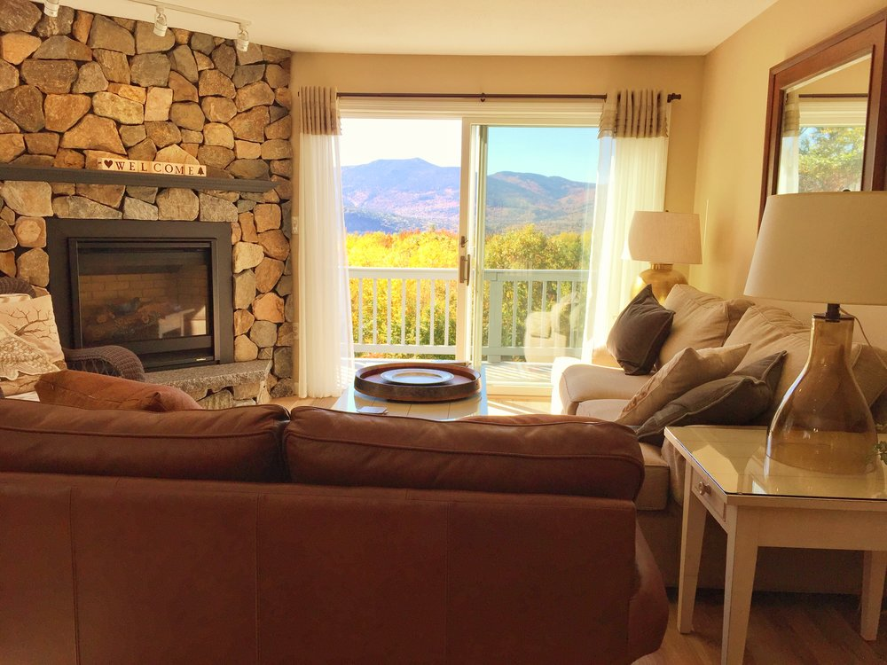 Living Room Looking Out To Deck Of Cozy Mountain House II