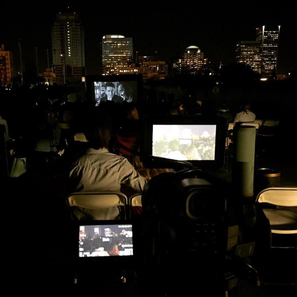 Rooftop movie shoot