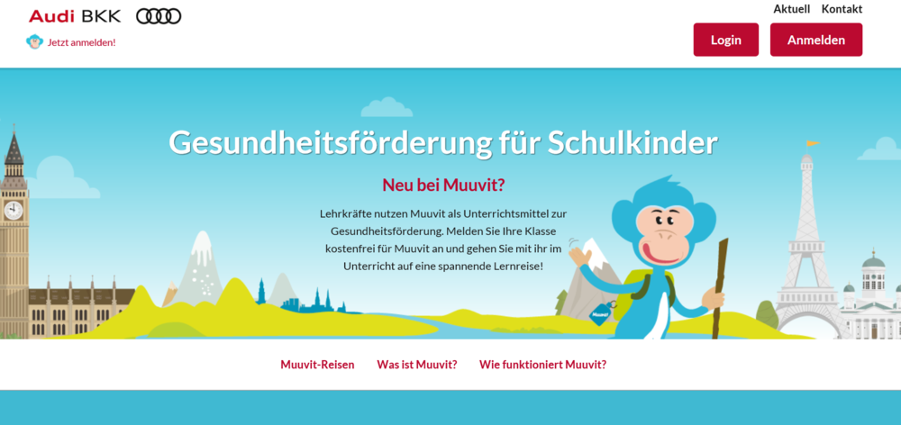Audi Health Insurance - The German health insurer applies Muuvit as a health promotion and community engagement tool. Special focus on primary school children in South Germany.