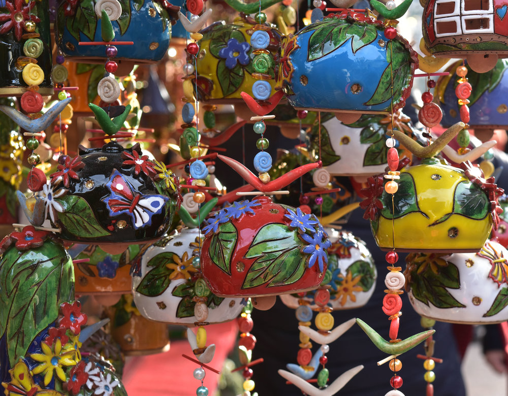 A variety of items, such as these colorful wind chimes, were sold at the Christmas Market in Baden Baden, Germany.