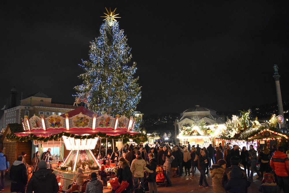 The Christmas Market in Stuttgart, Germany brings holiday cheer to its attendees during its final evening.