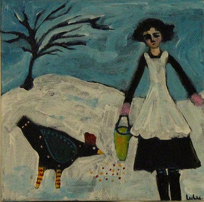 Girl with Hen in Snow