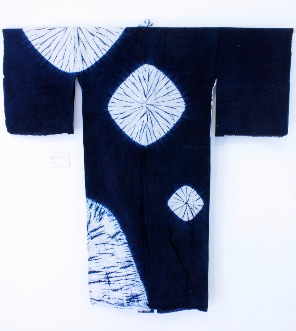 One of the beautiful hand-dyed shibori kimonos on display inside the folly.