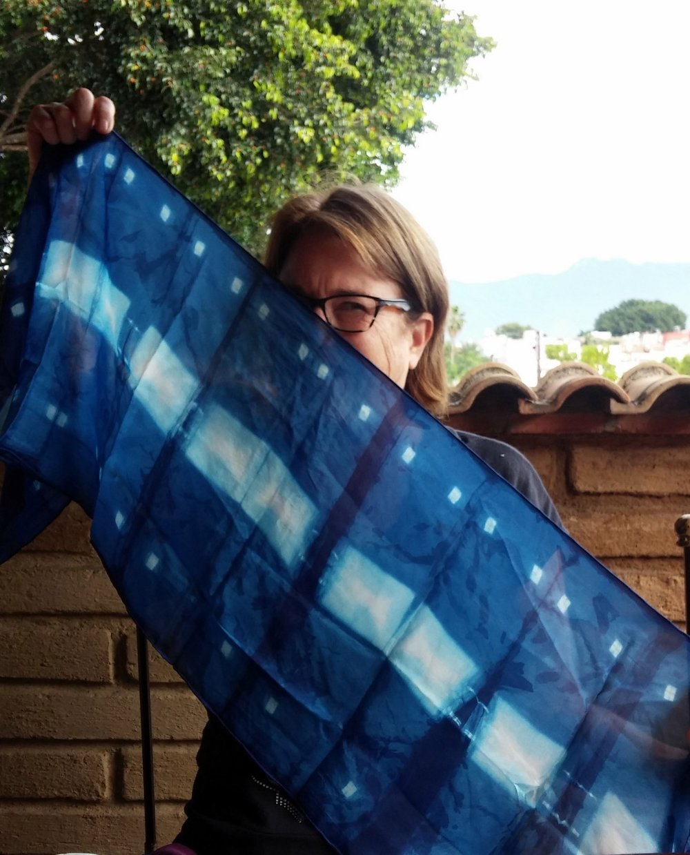Jan and her first time ever shibori indigo-dyed cloth