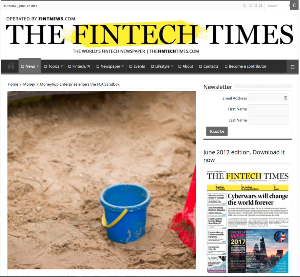 Fintech Times FCA Sandbox article