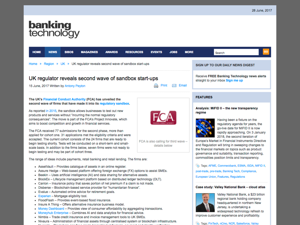 Banking Technology FCA Sandbox article