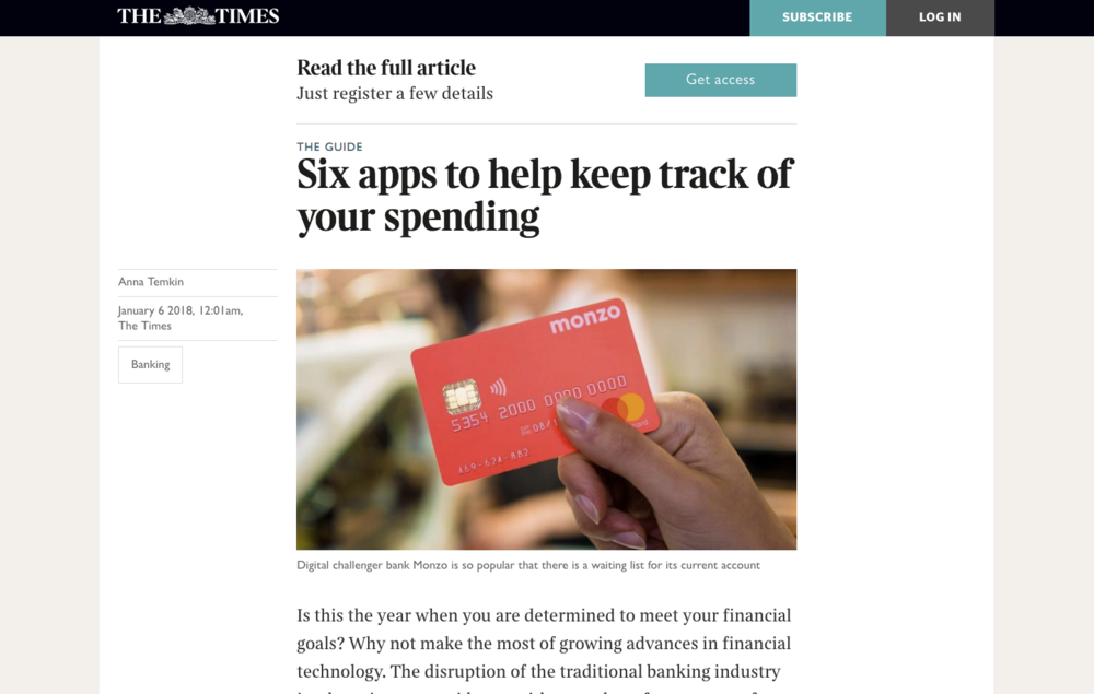 The Times article – Six Apps to keep track of your spending