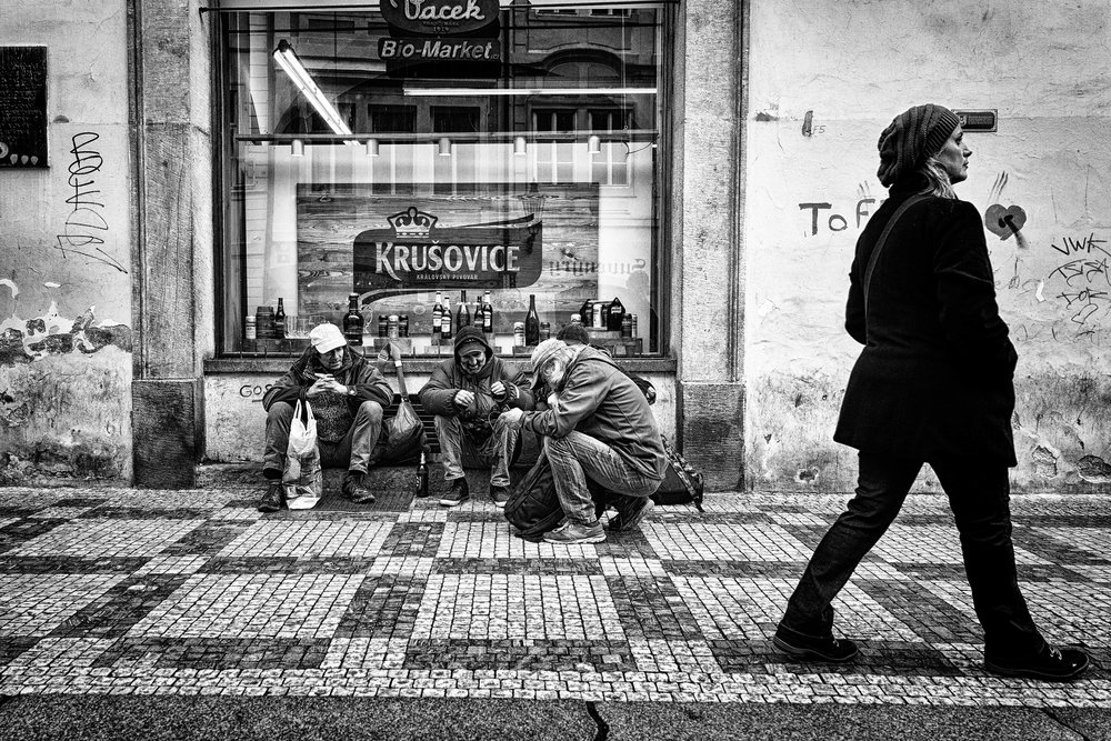 Drink Club. Prague, October 2016  Just across the Charles Bridge, these locals sat and watched the tourists buzz by. First rule of drink club...