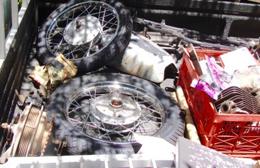 A truck full of parts: the bike begins