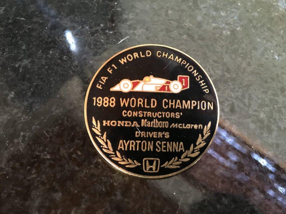 1988 Commemorative Ayrton Senna Pin.