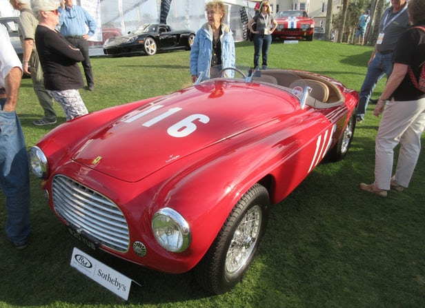 The 27th of 32 Ferrari 166 MM examples built and the 23rd of 25 Touring Barchettas, this 1950 Ferrari 166 MM Barchetta was owned and raced by future Scuderia Ferrari driver Eugenio Castellotti in period and was expected to fetch between $8,000,000 and $10,000,000, but failed to meet reserve. | Official Auction Page(Credit: Somer Hooker)