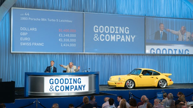One of only 67 built of Porsche's first lightweight turbo production car, this 1993 Porsche 964 Turbo S Leichtbau had traveled less than 2,500 km when it sold for $1,540,000. | Official Auction Page(Credit: Jensen Suta / Gooding & Co)