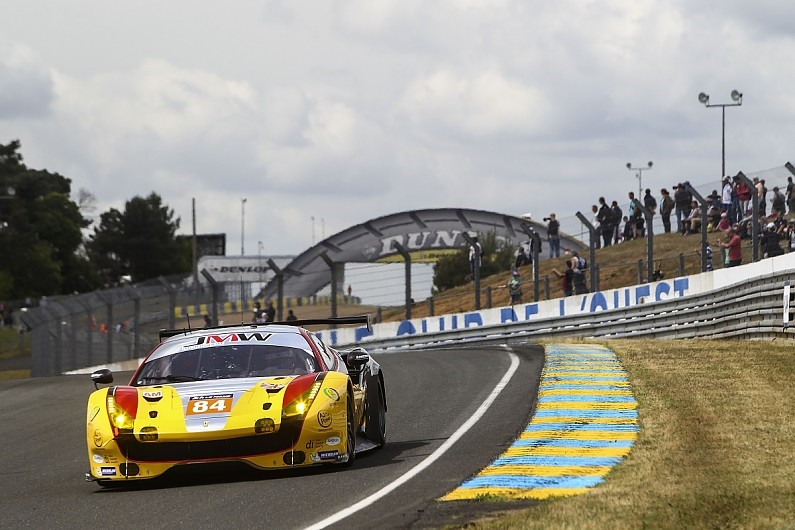 In GTE Am the #84 JMW Motorsport Ferrari driven by Will Stevens, Dries Vanthoor and Robert Smith rose from seventh on the class grid to win by a complete lap.