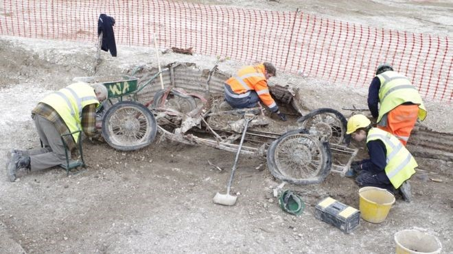 Archaeologists believe the car had been dismantled for repair by a local soldier, and then seemingly abandoned